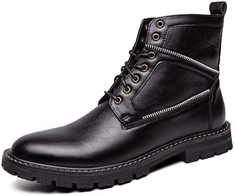 男性ハイトップブーツレースアップ本革用半長靴はアンチスリップサイドジッパーインテリアウォーキングフリースインサイドラウンドトゥを温めます YueB HAK (Color : ブラック, サイズ : 25.5 CM)