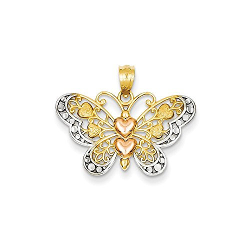 (14K Tri-Color Gold Butterfly with Hearts Charm Pendant)