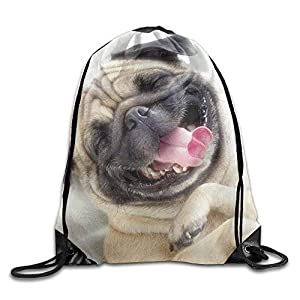 LINGJIE Lightweight Foldable Large Capacity Drawstring Gym Backpack bag Cute Pug Dog Waterproof Bunch Backpack For Men… 1 spesavip