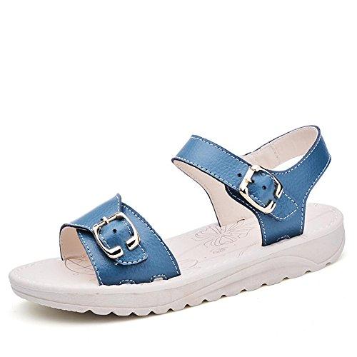 Solstice suave mujeres embarazadas sandalias planas sandalias zapatos  cómodos deslizamiento plana Blue aa24f897267bf