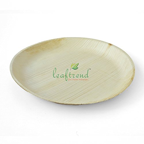 Leaftrend – Ecofriendly disposable palm leaf plates,wedding and party plates - 12 inch round palm leaf plate -25 PCS