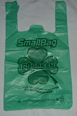 Green Plastic T-shirt Shopping Bags (6x3x13-11mic) - 100 Bags ...