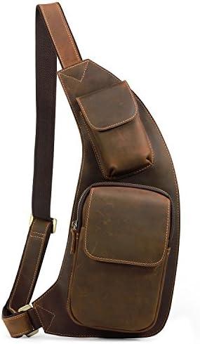 Kattee Genuine Cow Leather Cross Chest Shoulder Sling Bag Brown
