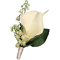 Boutonniere - Lily of the Valley with Live-feel Calla Lily-pin Included