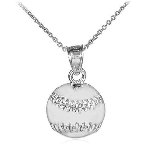 Sport Charm Baseball - Sports Charms Baseball/Softball Sterling Silver Pendant Necklace, 18