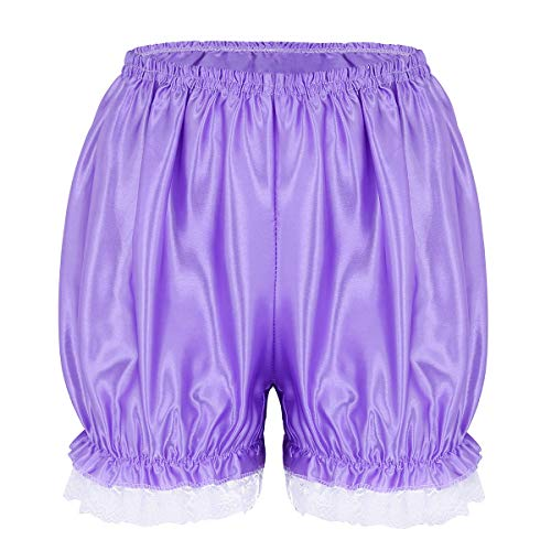 dPois Womens Sexy Soft Shiny Lace Hem Panties Sissy Pettipants Dance Bloomers Booty Shorts Underwear Purple One Size(Waist: 58-110cm/ 23.0-43.0'') ()