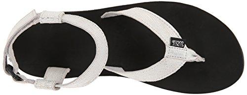 Teva W Original Leather Metallic, Heels Sandals para Mujer Plateado (Silver- Slvrsilver- Slvr)