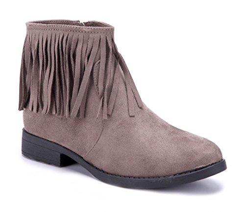 Schuhtempel24 Damen Schuhe Westernstiefel Stiefel Stiefeletten Boots Blockabsatz 3 cm Khaki