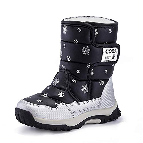JACKSHIBO Girls Boys Outdoor Waterproof Winter Snow Boots,Black,13.5 M US Little Kid/ 19.4 - Snow Boots Thirty Two