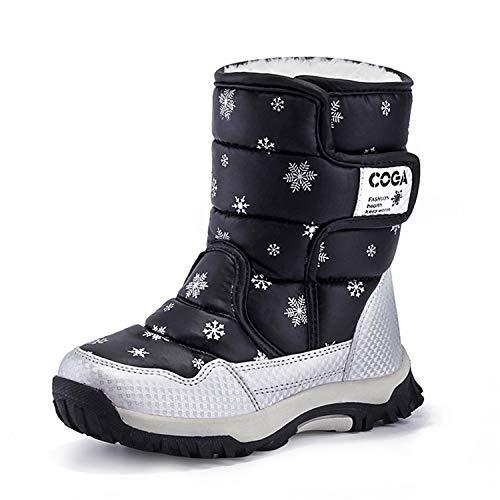 - JACKSHIBO Girls Boys Outdoor Waterproof Winter Snow Boots,Black,13.5 M US Little Kid/ 19.4 cm/32