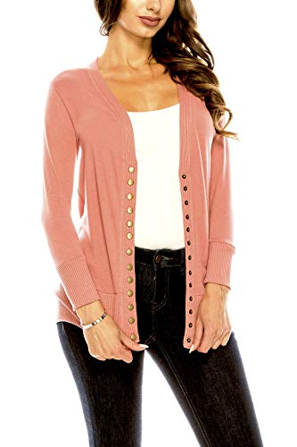 Women's V Neck Cardigan Snap Button 3/4 Sleeve Sweater with Ribbed Detail Collection Plus Size [S-3X] Ash Rose Large