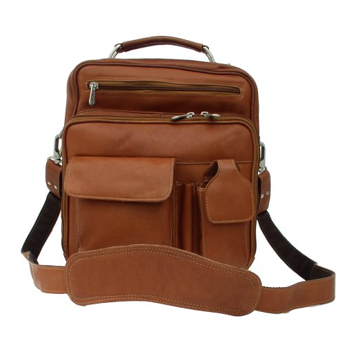 Piel Leather Deluxe Shoulder Bag, Saddle, One Size ()