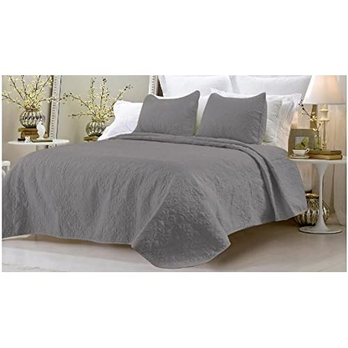 3 Pieces Solid Color Embroidery Quilted Bedspread Coverlet Set #1002 Quilts, Bedspreads & Coverlets Bedding