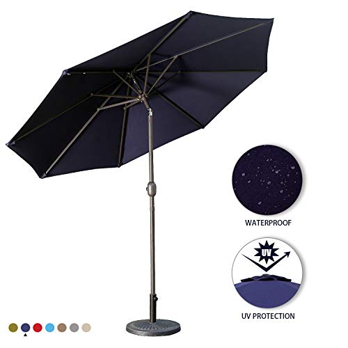 Aok Garden 9Ft Patio Outdoor Umbrella Market Table Fade-Resistant Umbrella with Push Button Tilt and Crank for Garden Backyard Deck,Update Navy Blue ()