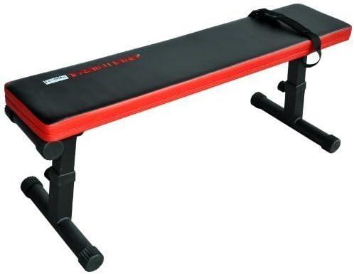 Banco de pesas plano, ajustable y plegable, color negro y rojo, de ...