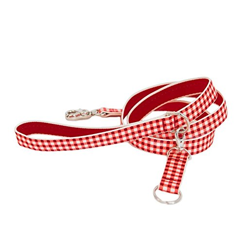 Gingham Luxury Dog Collar Leash - Red Medium