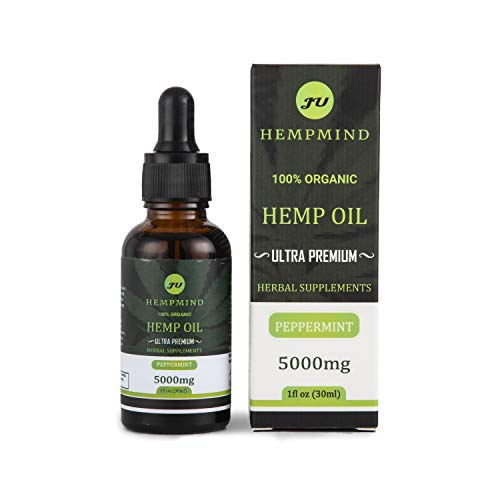 HEMPMIND Ultra-Premium Hemp Oil 5000mg, Peppermint Flavor, Anxiety Drops, Anti Stress, Natural Pain Relief, Sleep Aid…