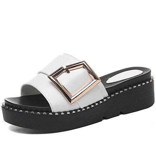 Blanc Fashion Slipper Mode Wild Mme Wear Sandals Plat Bottom Summer nSY64wqz