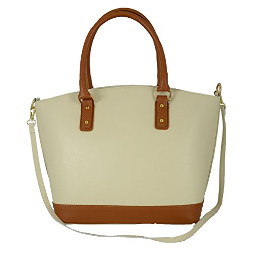 e2d1b15c15026 Echtes Leder Damen Handtasche Mit Metallfüßen Farbe Beige Cognac -  Italienische Lederwaren - Damentasche