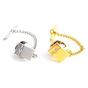 BG Men's Eloquent Rectangle Tie Tack with Crystal Detail-2 Pack