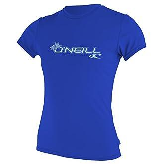 O'Neill Women's Basic Skins Upf 50+ Short Sleeve Sun Shirt,Tahitian Blue,X-Large