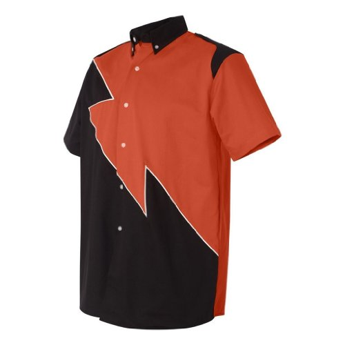 Hilton Spoiler Retro Bowling Shirt (Large, Orange)