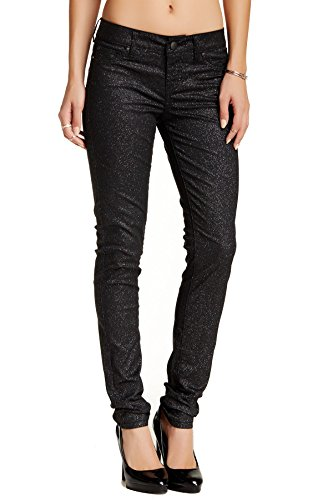 Cigarette Leg Stretch Jeans (Standards & Practices S&P Women's contemporary Glitter Sparkling Black Stretch Denim Skinny Jeans Cigarette Leg)
