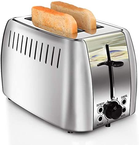 prepAmeal 2 Slice Toaster Stainless Steel Toaster Two Slice Bagel Toaster Small Bake Toaster with 6 Browning Setting, Reheat, Defrost, Bagel, Cancel Function, Extra Wide Slots (Silver - 2 Slice)
