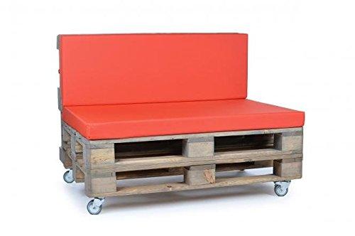 Palettenkissen, Gartenmöbel Auflagen, Sitzbankauflage, Matratzenauflagen auch m. Rückenlehne bzw. Dekokissen in Nylon, rot, wasserabweisend und strapazierfähig