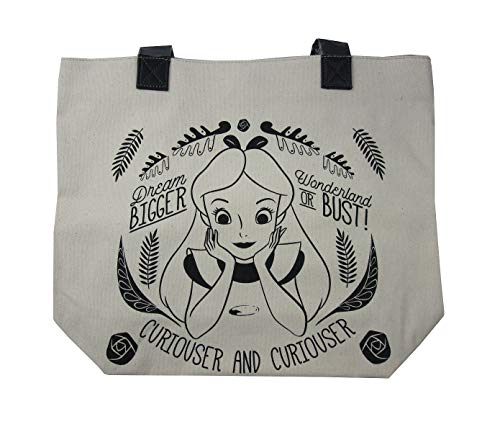 Loungefly x Disney Alice in Wonderland Curiouser and Curiouser Canvas Tote Bag (One Size, Natural)