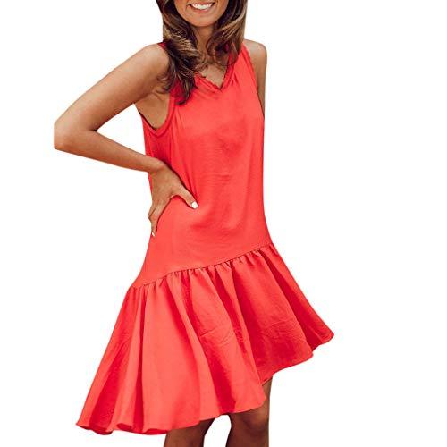 URIBAKE ♥️ Women Solid Sleeveless Tank Dress Ruched Flounce Summer Casual Beach Sundress Mini Dress Red
