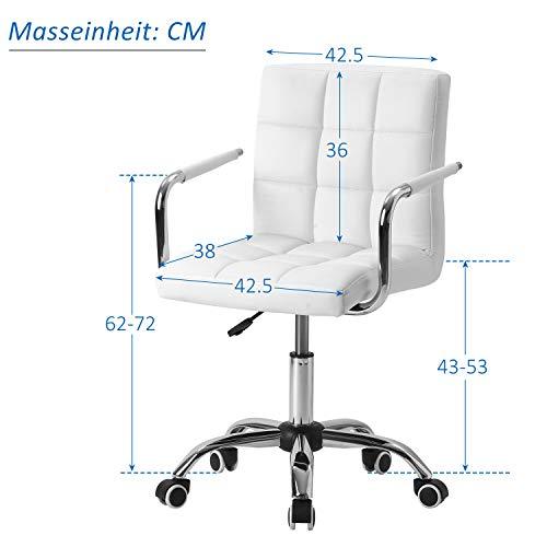Bürostuhl Kunstleder höhenverstellbar Drehstuhl, für Büro/Wohnzimmer, Ergonomischer Schreibtischstuhl Drehstuhl mit Rollen und Armlehnen, Bis 100kg, Weiß