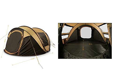 DANCHEL Instant 4-5 Person Pop Up Camping Tent, khaki – Set Up in Lightning Speed for Family Camping, Hiking, Outdoors, Festivals
