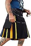 Mens Scottish Kilt Utility Irish Rainbow Traditional Highland Pleated Costume with Cargo Pockets