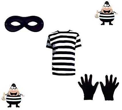 Neuf Voleur Déguisement Noir Et Blanc Swag Butin T Shirt