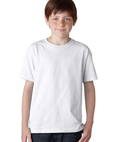 (Gildan boys Heavy Cotton T-Shirt(G500B)-WHITE-M)