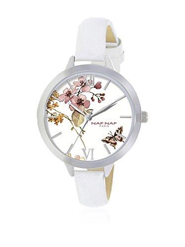 Naf Naf Reloj de Cuarzo Woman Naf Naf D IPS/Argenté Flowerbutterfly/Fleurpapillon White/Blanc 38 mm: Amazon.es: Relojes