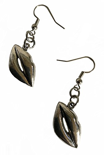 Flaming Lips Rolling Stone - Pewter Antique silver color Lips Mouth Love Kiss Earrings