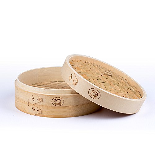 HUANGYIFU 1 Tier + 1 Lid Chinese Traditional Kitchen Tool Bamboo Steamer Basket for Food Cooking