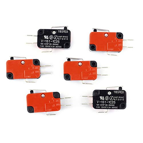 (Cylewet 6Pcs V-151-1C25 Short Straight Lever Type Micro Limit Switch SPDT Snap Action for Arduino (Pack of 6) CYT1112)
