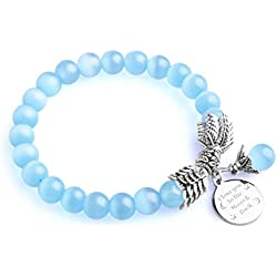 """Bella.Vida Womens December Birthstone Cat Eye Bead Bracelet with 8mm Quartz Crystal Pearl and I Love You to the Moon and Back Charm 7.2"""""""