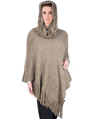 Dahlia Women's Knitted Poncho - Cross Stitch Fur Trim Cowl Neck Hoodie-Tan (Jewel Neck Sweater Dress)