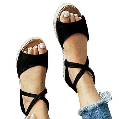 (Athlefit Womens Platform Sandals Flat Strap Espadrille Sandals Criss Cross Size 8.5)