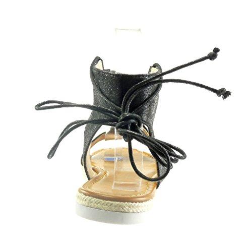 Angkorly - Zapatillas de Moda Sandalias alpargatas abierto stile vendimia suela de zapatillas mujer brillantes encaje cuerda Talón tacón plano 1.5 CM - Negro