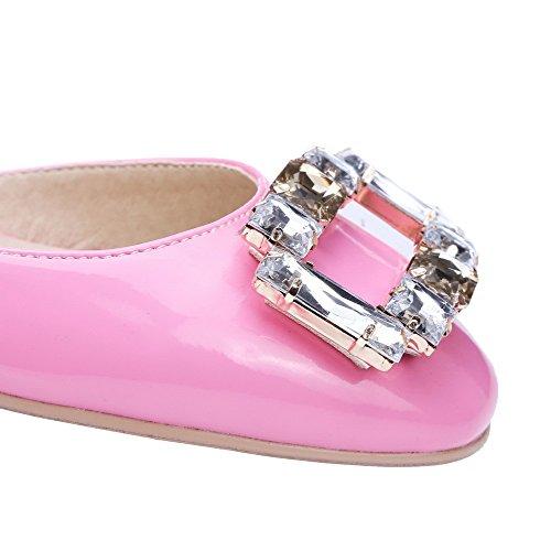 Allhqfashion Para Mujer De Charol Cuadrado Cerrado Tacones Bajos Tirar De Bombas De Zapatos Sólidos, Rosa, 34