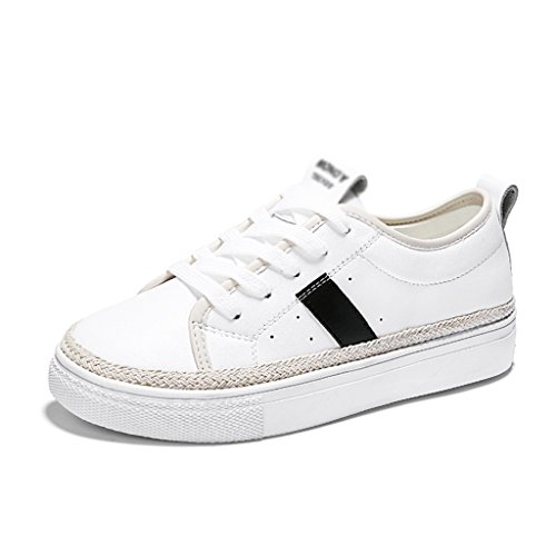 HWF Chaussures femme Chaussures plates de plat de plat d'étudiant des chaussures des femmes blanches ( Couleur : White Red , taille : 40 ) White Black