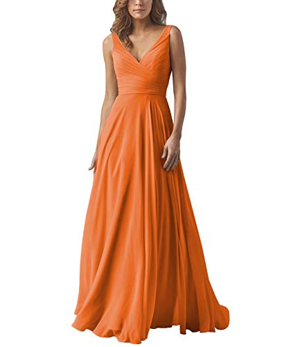 Yilis Double V Neck Draped Chiffon Bridesmaid