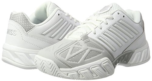 K-Swiss Women's Bigshot Light 3 Tennis Shoes (White/Silver) (8 B(M) US)