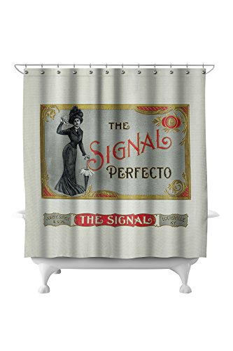 The Signal Perfecto Brand Cigar Box Label (71x74 Polyester Shower Curtain)