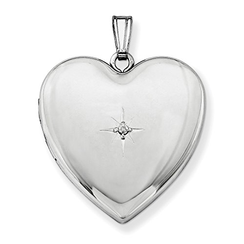ICE CARATS 925 Sterling Silver 24mm Diamond Star Design Heart Photo Pendant Charm Locket Chain Necklace That Holds Pictures Fine Jewelry Ideal Gifts For Women Gift Set From (Design Silver Locket)